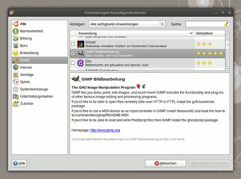 Der GNOME Application Installer, kurz GAI, zu finden über System -> Hinzufügen/Entfernen