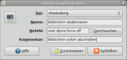 Unter Gnome den Bildschirm mit einem Klick abschalten.