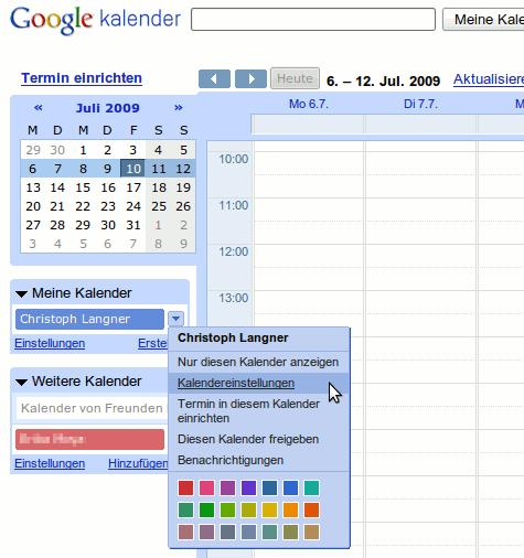 Jeder Kalender hat mittlerweile seine eigenen Einstellungen.