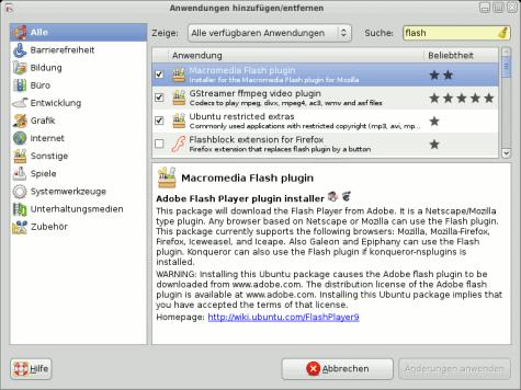 Über Anwendungen -> Hinzufügen/Entfernen sollte die Installation von Adobe Flash ein Kinderspiel sein.