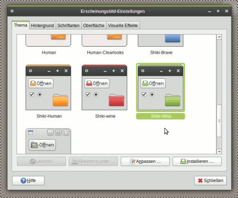 Shiki-Colors, ein Theme für GTK und Metacity. Dazu GNOME-Colors als passe