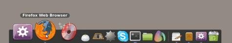 GNOME-Do mit Docky. Das Dock füllt sich automatisch und kann wirklich kinderleicht angepasst werden.