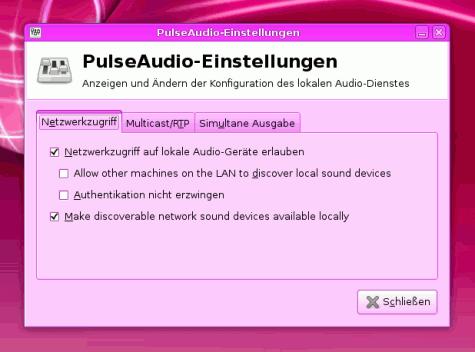 PulseAudio im Netzwerk freigeben (Screenshot vom Desktop meiner Freundin ;D )