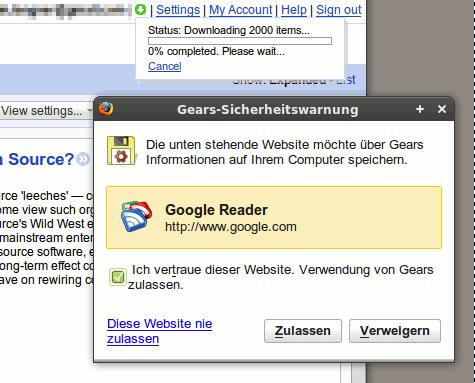 Google Reader mit Gears