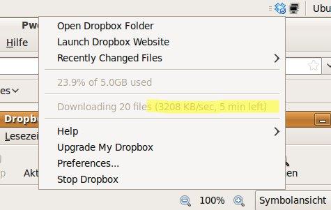 Dropbox zieht die Daten über das lokale Netzwerk.