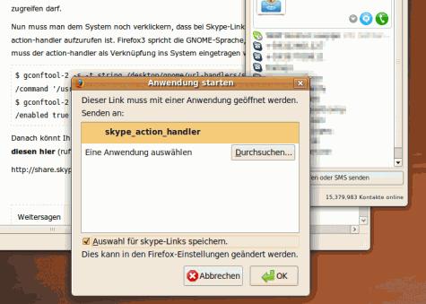 Firefox sagen den skype-action-handler zu verwenden