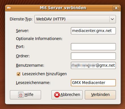 Assistent zum Einbinden enfernter Dateisysteme