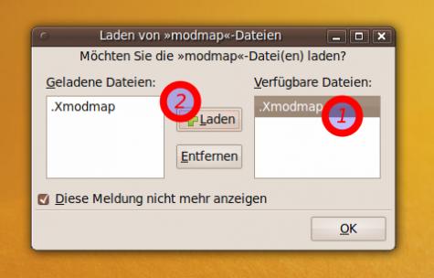 Laden der Xmodmap-Datei