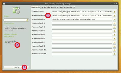 Die entsprechenden Befehle im CompizConfig Einstellungs-Manager eintragen