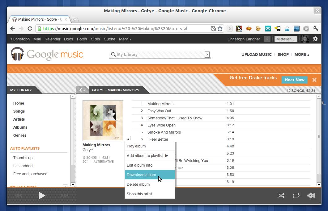 Google music erlaubt jetzt auch den download der eigenen musik linux