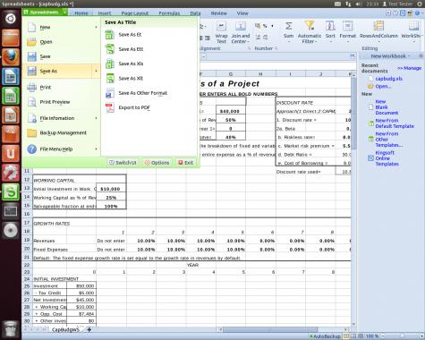 Die Tabellenkalkulation Kingsoft Spreadsheet unter Ubuntu 12.04