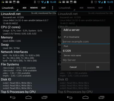 Glances für Android ruft die Daten über das im Server-Modus gestartete Glances-Skript ab.