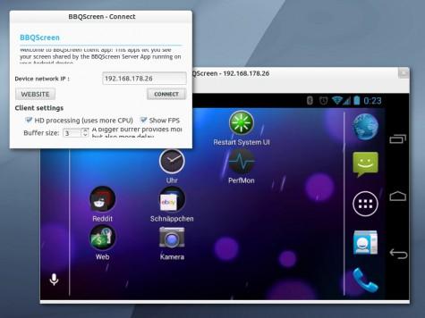 BBQScreen Connect unter Ubuntu 13.04 64-Bit.