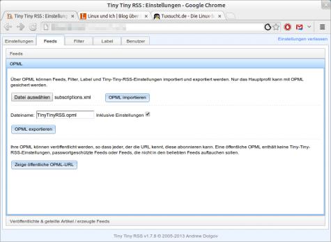 In den Feed-Einstellungen von Tiny Tiny RSS lässt sich die subscriptions.xml importieren.