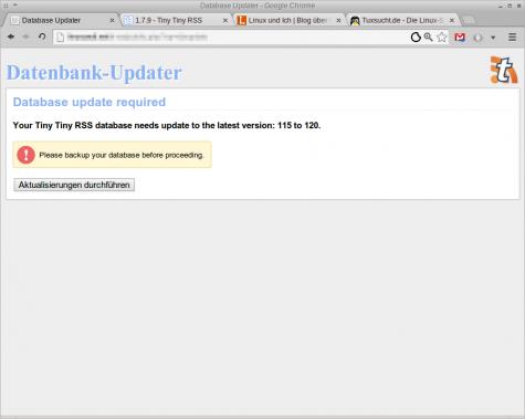 Und am Ende möchte noch die Datenbank aktualisiert werden.