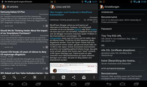 Die Tiny Tiny RSS App für Android.