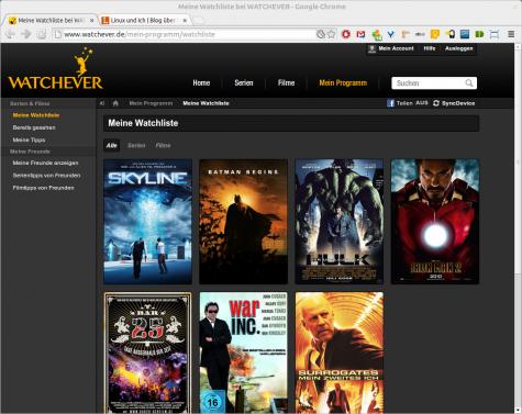 Filme muss man jedoch per Browser oder Tablet in die Watchliste laden.