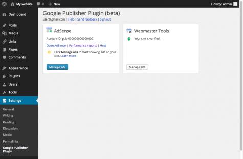 Das Google Publisher Plugin  kümmert sich um die Integration von Adsense und den Webmaster Tools.