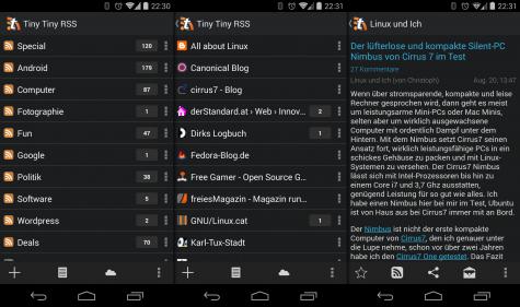Tiny Tiny RSS als App auf dem Android-Handy.