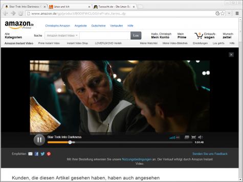 Auch das neue Amazon Instant Video arbeitet mit Pipelight unter Linux zusammen.