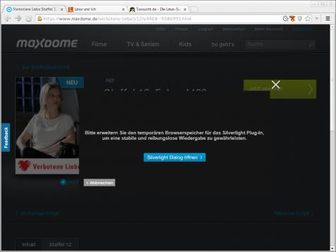 Maxdome möchte mehr Platz im Browsercache reservieren können.