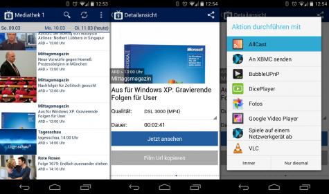 Apps wie Mediathek 1 oder Theke und Allcast ergänzten sich perfekt.