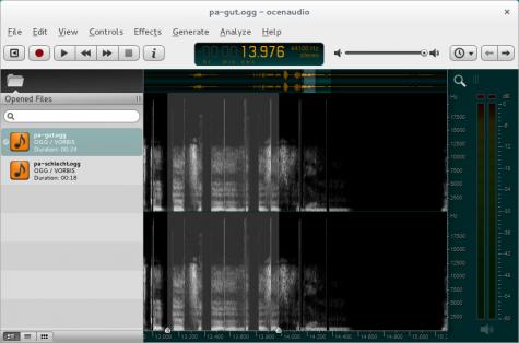 Wem die Waveform-Ansicht nicht ausreicht, der kann auf eine Spektralansicht umschalten.