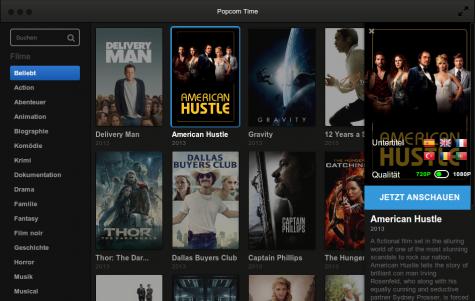 Die Filme werden in HD-Qualität und mit Untertitel gestreamt.