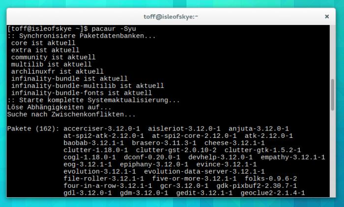 Nur wenige Tage nach dem Release von GNOME 3.12 trudelt das Update bei Arch Linux ein.