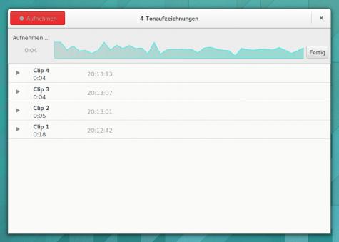Der Tonaufzeichner ersetzt den GNOME-Audio-Recorder.