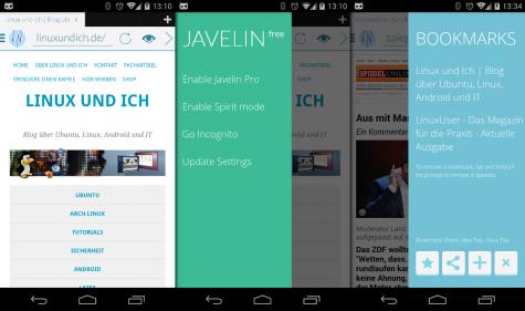 Der Javelin Browser für Android bringt Adblocker, Readability-Mode und ein kostenpflichtigen Proxy-Dienst mit.