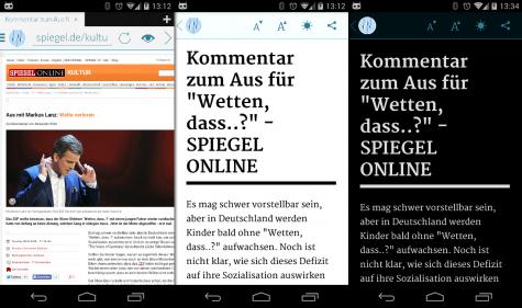 Der Readability-Modus reduziert Webseiten auf das nötigste, so dass sich diese auf dem Handy bequem lesen lassen.