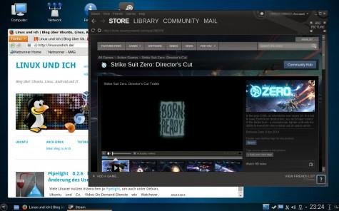 Spiele-Fans werden sich darüber freuen, Steam ist bei Netrunner OS von Haus aus an Bord.