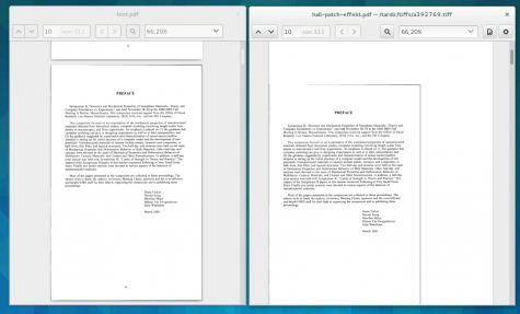 Rechts das falsch eingescannte Original des PDFs mit viel Whitespace um den Inhalt, links das mit PDFCrop automatisch zugeschnittene PDF.