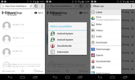 ShareDrop funktioniert auf dem PC und mit dem richtigen Browser auch unter Android.