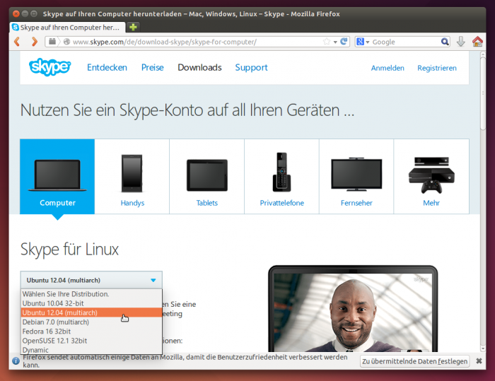 Skype, Chrome oder Dropbox ladet ihr als DEB-Paket für Ubuntu herunter.