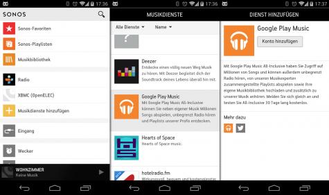 Zur Unterstützung von Google Music muss die Beta-Version der Sonos-App installiert sein.