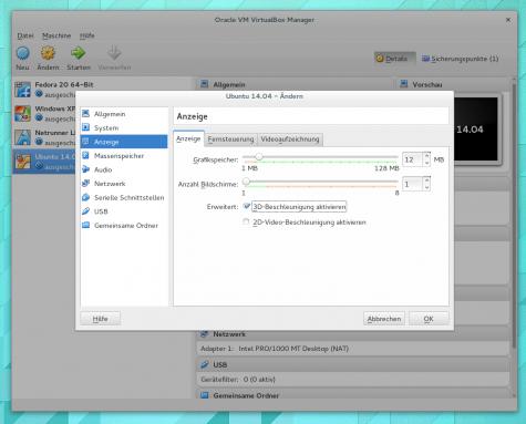 Die 3D-Beschleunigung muss man von Hand in VirtualBox aktivieren.