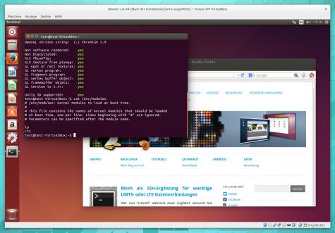 Mit aktivierter 3D-Beschleunigung läuft Ubuntu 14.04 auch in der VirtualBox rund.