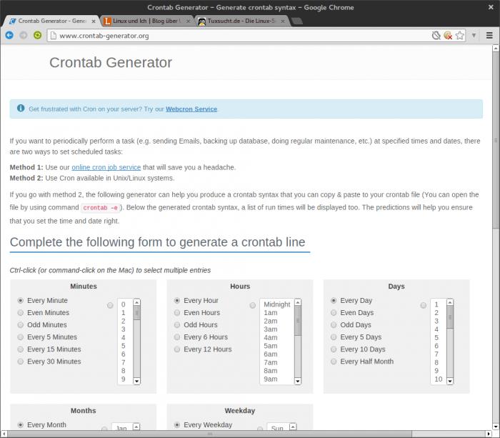 Mit dem Crontab-Generator kann man sich Cronjobs per Mausklick zusammenstellen.
