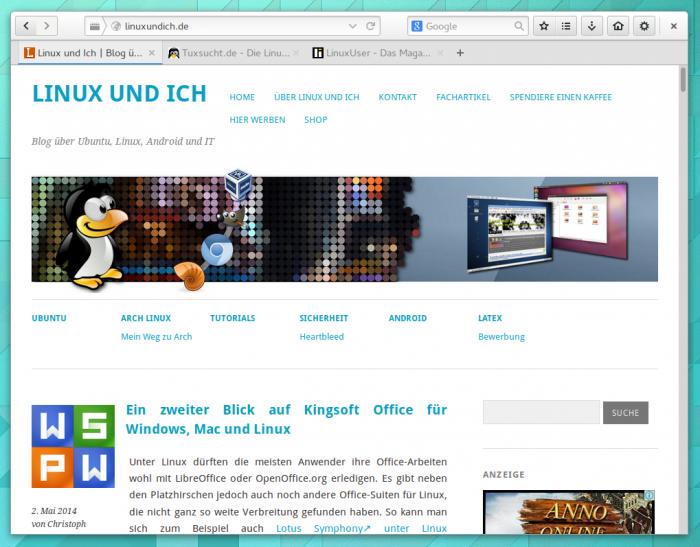 Firefox nach allen Anpassungen im Kleid von Gnome 3.