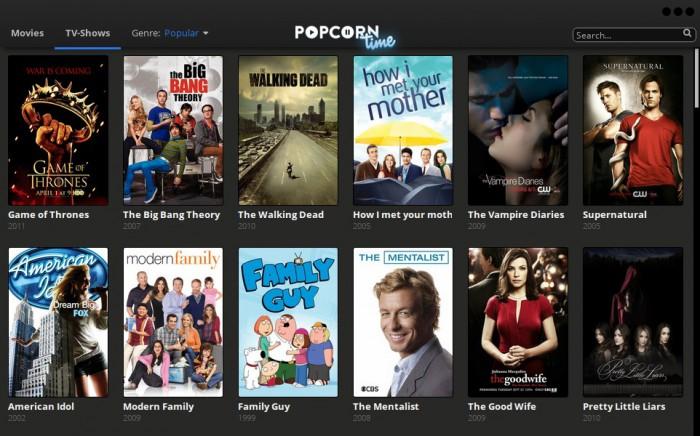 Popcorn Time führt nun auch Serien in seinem Index.