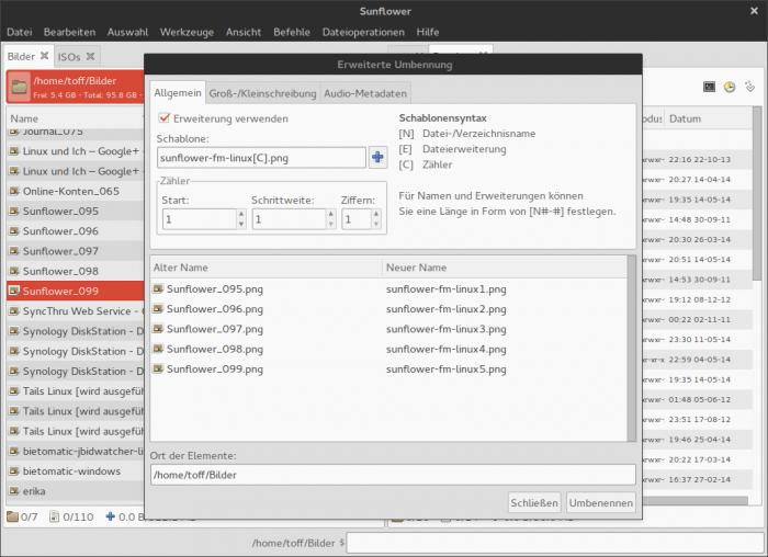 Wie Thunar aus der Xfce-Desktopumgebung gibt es auch bei Sunflower ein Mass-Rename-Tool.