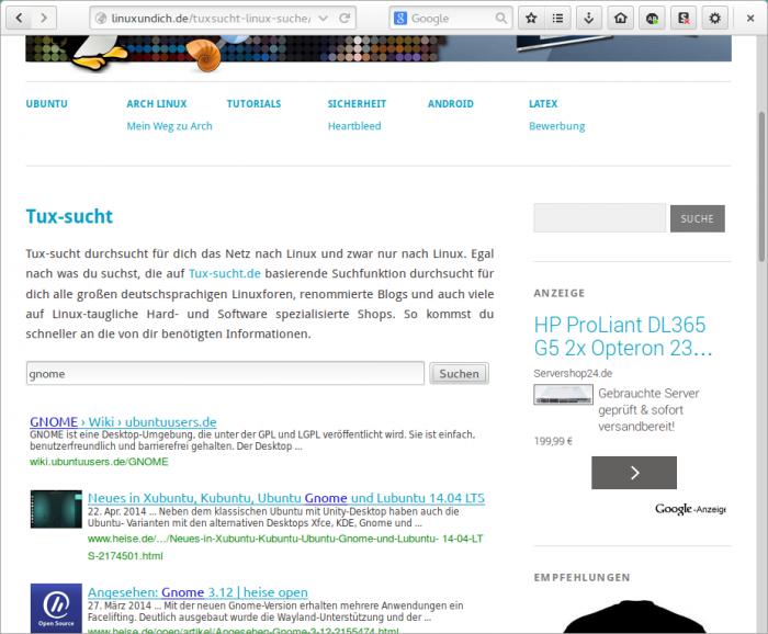 Die Linux-Suche durchsucht alle großen deutschsprachigen Linuxforen, renommierte Blogs und auch viele auf Linux-taugliche Hard- und Software spezialisierte Shops.
