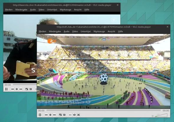 Die Live-Streams von ARD und ZDF lassen such auch mit Mediaplayern wie VLC laden.
