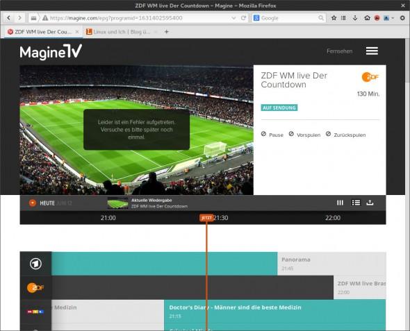 Magine TV scheint durch den Ansturm der WM-Fans technische Probleme zu haben.