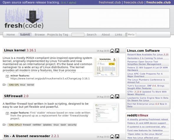 freshcode.club möchte eines Tages als Nachfolger von FreshMeat bzw. FreeCode gelten.