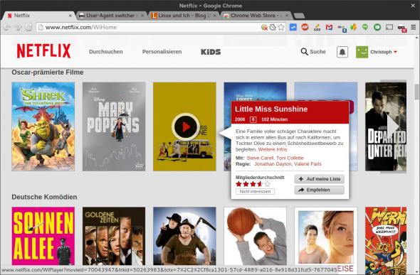 Anschließend sucht ihr euch einen beliebigen Film aus dem Angebot von Netflix heraus.