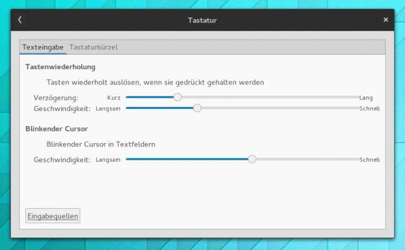 Die Tastatur-Einstellung von Gnome 3.14.