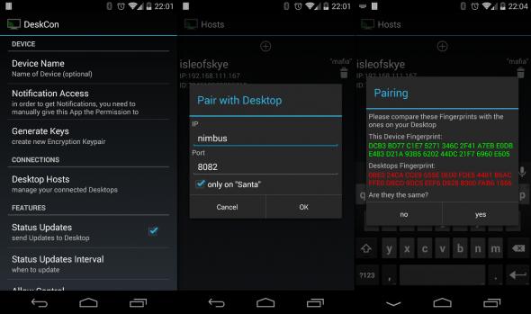 Das Pairing zwischen DeskCon auf Handy und Computer wird über die Android-App angestoßen.